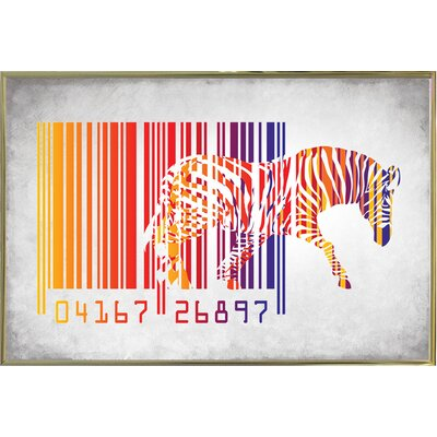 'Zebra Barcode' Graphic Art Print Format: Gold Metal Framed Paper, Size: 20