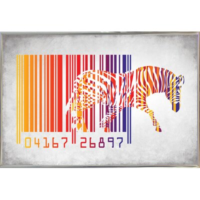 'Zebra Barcode' Graphic Art Print Format: Silver Metal Framed Paper, Size: 20