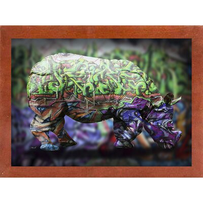 'Rhino 4' Graphic Art Print Format: Affordable Canadian Walnut Medium Framed Paper, Size: 21.25