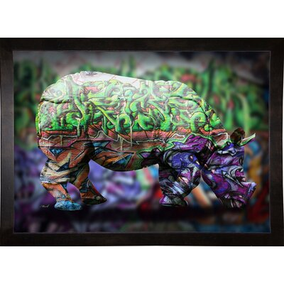 'Rhino 4' Graphic Art Print Format: Cafe Espresso Framed Paper, Size: 21.25