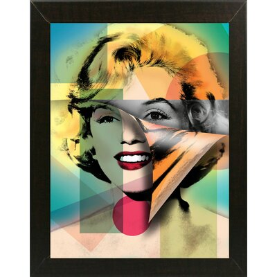 'Marilyn 4' Graphic Art Print Format: Affordable Brazilian Walnut Medium Framed Paper, Size: 21.5