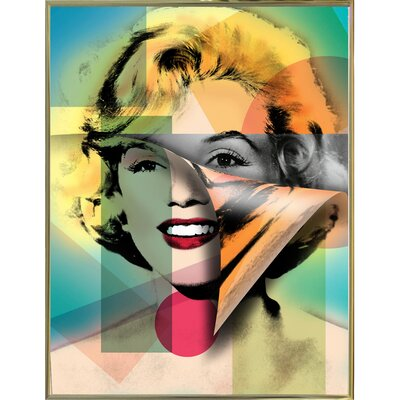 'Marilyn 4' Graphic Art Print Format: Gold Metal Framed Paper, Size: 21.5