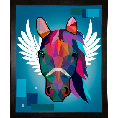 'Wpap Horse 2' Graphic Art Print Format: Affordable Black Medium Framed Paper, Size: 21.5