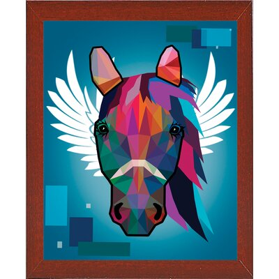 'Wpap Horse 2' Graphic Art Print Format: Affordable Red Mahogany Medium Framed Paper, Size: 21.5