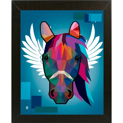 'Wpap Horse 2' Graphic Art Print Format: Affordable Brazilian Walnut Medium Framed Paper, Size: 21.5