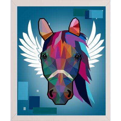 'Wpap Horse 2' Graphic Art Print Format: Affordable White Medium Framed Paper, Size: 21.5