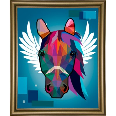 'Wpap Horse 2' Graphic Art Print Format: Bistro Gold Framed Paper, Size: 21.5