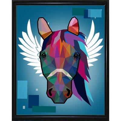 'Wpap Horse 2' Graphic Art Print Format: Flat Black Metal Framed Paper, Size: 21.5