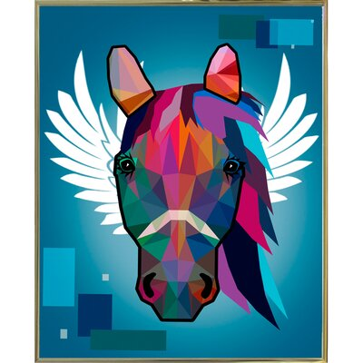 'Wpap Horse 2' Graphic Art Print Format: Gold Metal Framed Paper, Size: 21.5