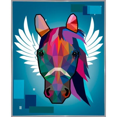 'Wpap Horse 2' Graphic Art Print Format: White Metal Framed Paper, Size: 21.5