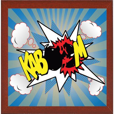 'Kaboom 2' Graphic Art Print Format: Affordable Red Mahogany Medium Framed Paper, Size: 21.75