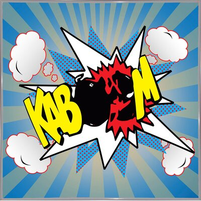 'Kaboom 2' Graphic Art Print Format: White Metal Framed Paper, Size: 21.75