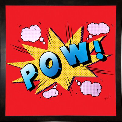 'Pow' Graphic Art Print Format: Affordable Black Medium Framed Paper, Size: 23.25