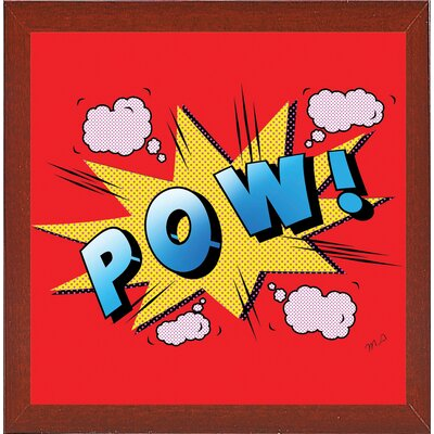 'Pow' Graphic Art Print Format: Affordable Red Mahogany Medium Framed Paper, Size: 23.25