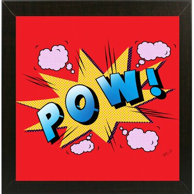 'Pow' Graphic Art Print Format: Affordable Brazilian Walnut Medium Framed Paper, Size: 23.25