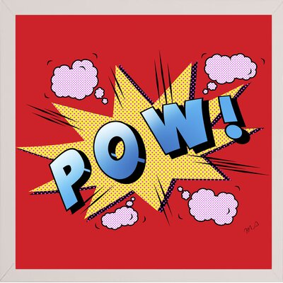 'Pow' Graphic Art Print Format: Affordable White Medium Framed Paper, Size: 23.25