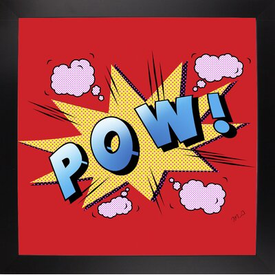 'Pow' Graphic Art Print Format: Affordable Black Large Framed Paper, Size: 23.25