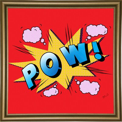 'Pow' Graphic Art Print Format: Bistro Gold Framed Paper, Size: 23.25
