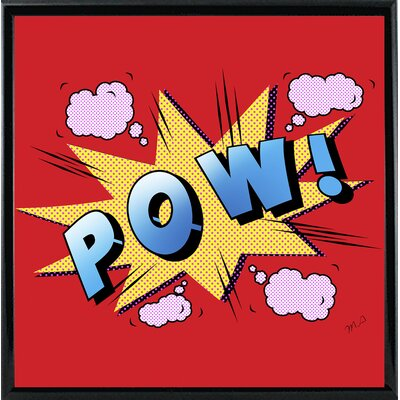 'Pow' Graphic Art Print Format: Shiny Black Metal Framed Paper, Size: 23.25