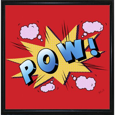 'Pow' Graphic Art Print Format: Flat Black Metal Framed Paper, Size: 23.25