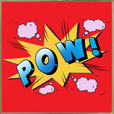 'Pow' Graphic Art Print Format: Gold Metal Framed Paper, Size: 23.25
