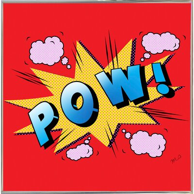 'Pow' Graphic Art Print Format: Silver Metal Framed Paper, Size: 23.25