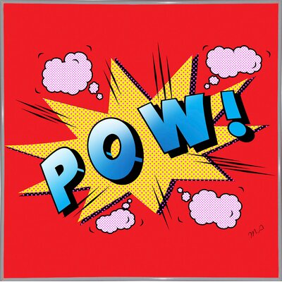 'Pow' Graphic Art Print Format: White Metal Framed Paper, Size: 23.25