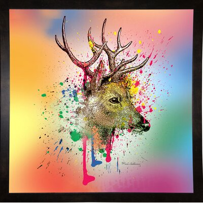 'Deer 6' Graphic Art Print Format: Affordable Black Medium Framed Paper, Size: 23.25