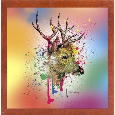 'Deer 6' Graphic Art Print Format: Affordable Canadian Walnut Medium Framed Paper, Size: 23.25