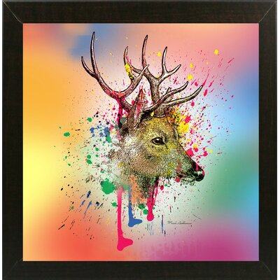 'Deer 6' Graphic Art Print Format: Affordable Brazilian Walnut Medium Framed Paper, Size: 23.25
