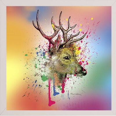 'Deer 6' Graphic Art Print Format: Affordable White Medium Framed Paper, Size: 23.25
