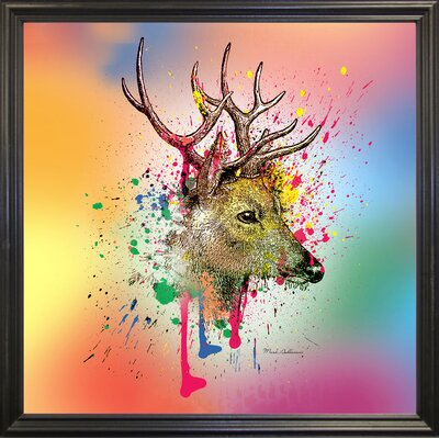 'Deer 6' Graphic Art Print Format: Black Grande Framed Paper, Size: 23.25