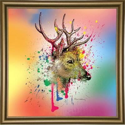 'Deer 6' Graphic Art Print Format: Bistro Gold Framed Paper, Size: 23.25