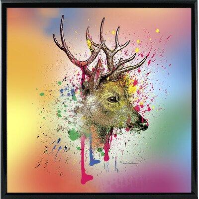 'Deer 6' Graphic Art Print Format: Shiny Black Metal Framed Paper, Size: 23.25