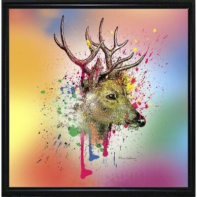 'Deer 6' Graphic Art Print Format: Flat Black Metal Framed Paper, Size: 23.25