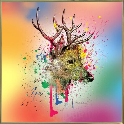 'Deer 6' Graphic Art Print Format: Gold Metal Framed Paper, Size: 23.25