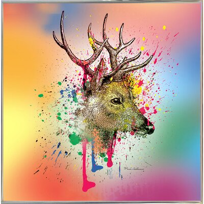 'Deer 6' Graphic Art Print Format: Silver Metal Framed Paper, Size: 23.25