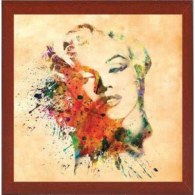 'Marilyn 10' Graphic Art Print Format: Affordable Red Mahogany Medium Framed Paper, Size: 23.25
