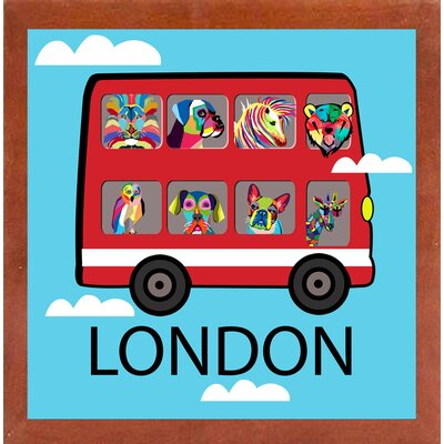 'London 2' Graphic Art Print Format: Affordable Canadian Walnut Medium Framed Paper, Size: 23.25