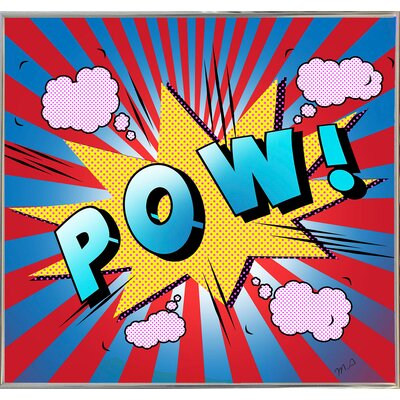 'Pow 5' Graphic Art Print Format: Silver Metal Framed Paper, Size: 23.25