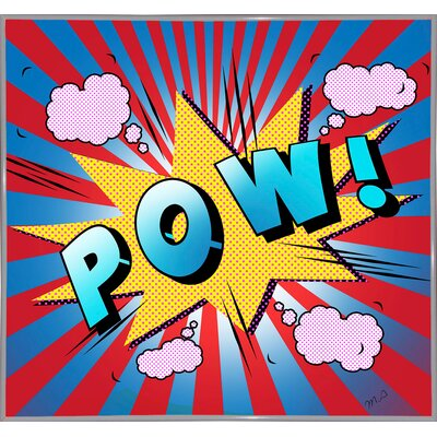 'Pow 5' Graphic Art Print Format: White Metal Framed Paper, Size: 23.25