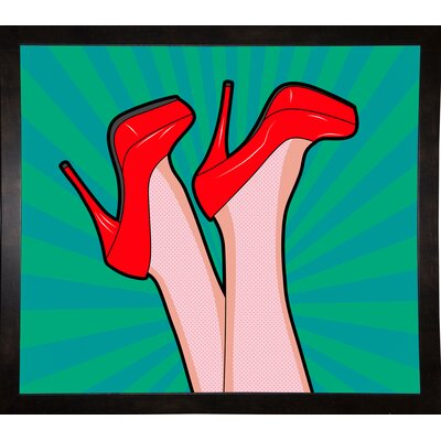 'Woman Legs with a Red Sexy Shoes' Graphic Art Print Format: Affordable Black Medium Framed Paper, Size: 23.25