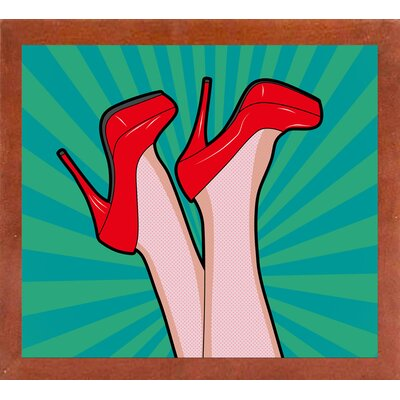 'Woman Legs with a Red Sexy Shoes' Graphic Art Print Format: Affordable Canadian Walnut Medium Framed Paper, Size: 23.25