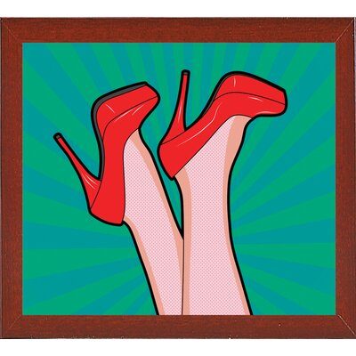 'Woman Legs with a Red Sexy Shoes' Graphic Art Print Format: Affordable Red Mahogany Medium Framed Paper, Size: 23.25