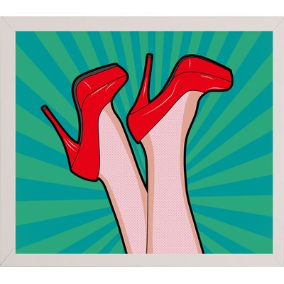 'Woman Legs with a Red Sexy Shoes' Graphic Art Print Format: Affordable White Medium Framed Paper, Size: 23.25