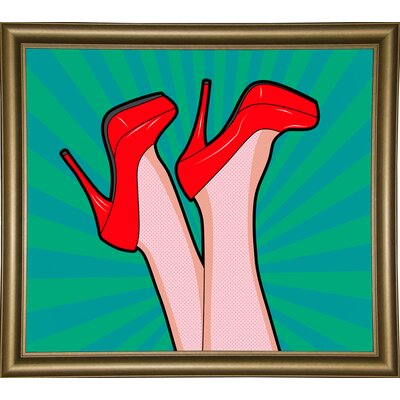 'Woman Legs with a Red Sexy Shoes' Graphic Art Print Format: Bistro Gold Framed Paper, Size: 23.25