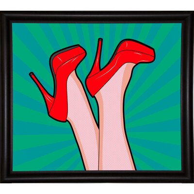 'Woman Legs with a Red Sexy Shoes' Graphic Art Print Format: Bistro Espresso Framed Paper, Size: 23.25