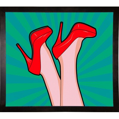 'Woman Legs with a Red Sexy Shoes' Graphic Art Print Format: Cafe Espresso Framed Paper, Size: 23.25