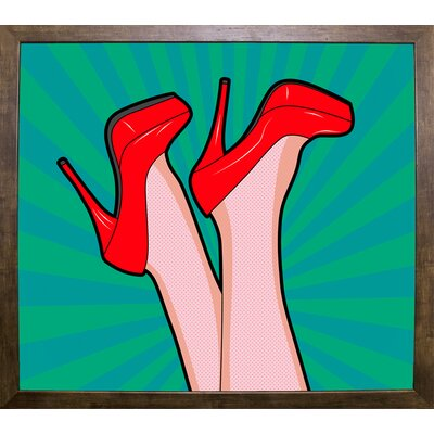'Woman Legs with a Red Sexy Shoes' Graphic Art Print Format: Cafe Mocha Framed Paper, Size: 23.25