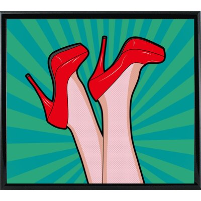 'Woman Legs with a Red Sexy Shoes' Graphic Art Print Format: Shiny Black Metal Framed Paper, Size: 23.25